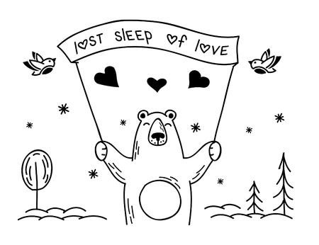 겨울에 곰의 흑백 그림 스톡 콘텐츠 - 71029236