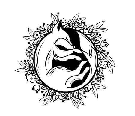 잠자는 여우의 흑백 그림
