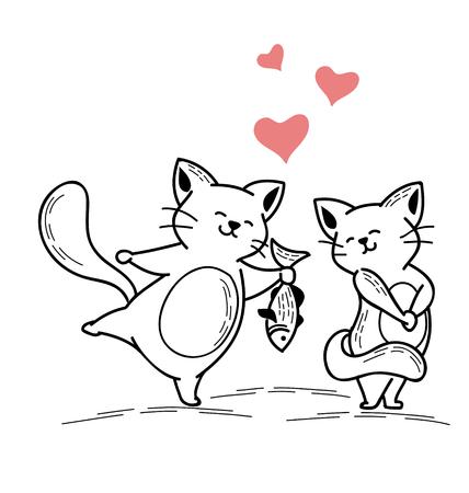 고양이의 그림 물고기 고양이를 제공합니다.