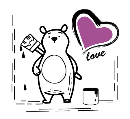 Bear Illustration draw a heart on the wall