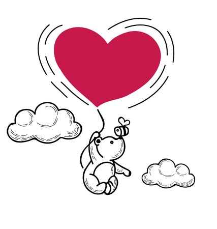 Bear is flying in a balloon in the form of heart Illustration