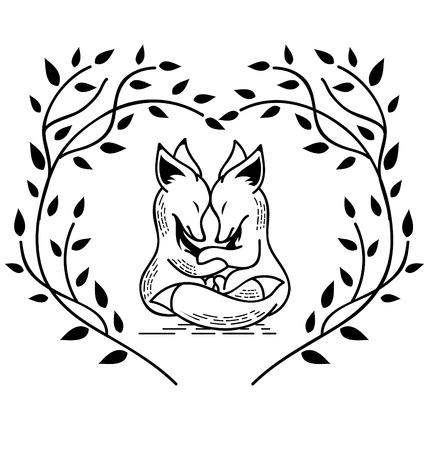 두 연인 여우의 흑백 이미지