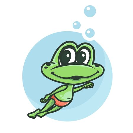 Funny cartoon frog is swimming Vettoriali