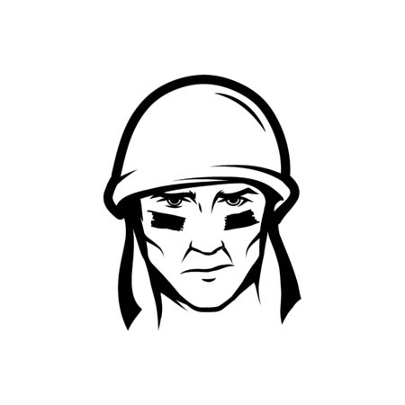 Black and white image of a soldier's head in a helmet