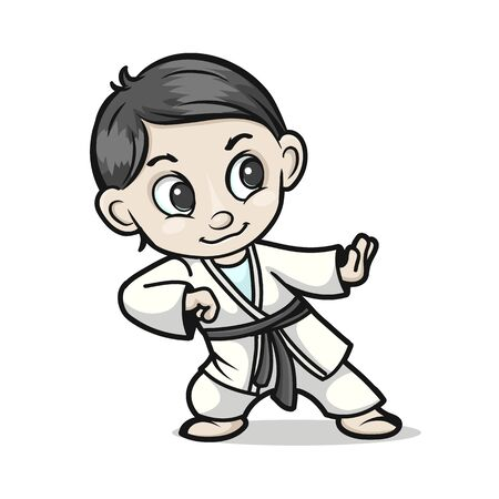 Character of a boy in a kimono 일러스트