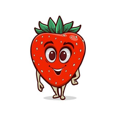 Cartoon funny strawberry character