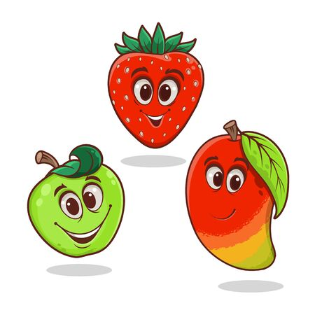 Cartoon bright funny fruits