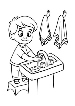 Black and white drawing of a boy washing hands Vettoriali