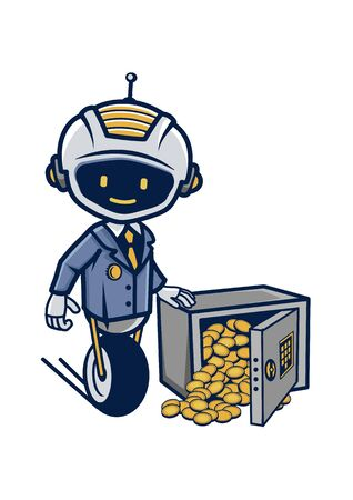 Drawing of a robot in a suit near a safe