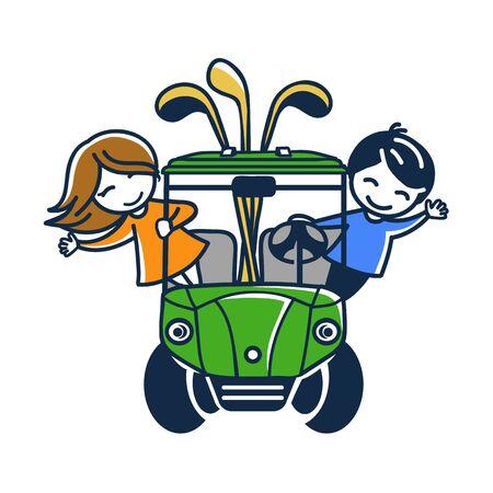 Couple of kids riding a golf cart 일러스트