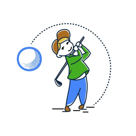Vector color sketch of a boy playing golf 일러스트