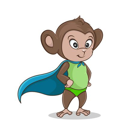 Funny cartoon monkey superhero 일러스트