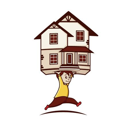 Vector image of a running man with a house in his hands.