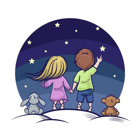 Vector image of a boy and a girl on a starry sky background