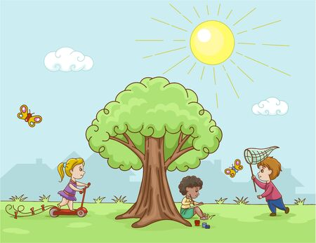 Vector image of children playing in the forest
