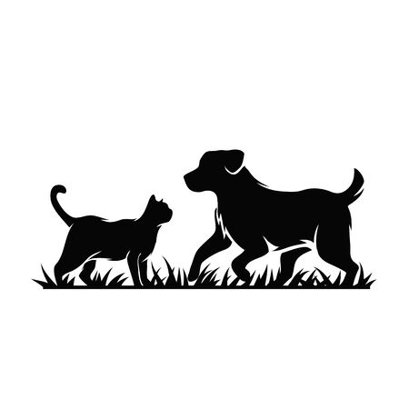 Vector silhouette of a dog and cat