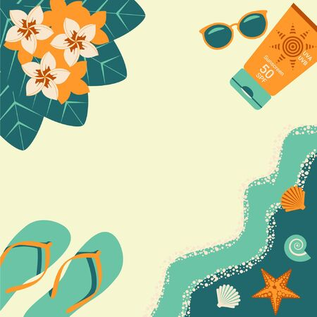 Poster template, summer time announcements. Top view, summer holiday, sea waves, shells, starfish, sunglasses, sunscreen, tropical flowers, flip flops. Vector Illustration in Flat style. 일러스트