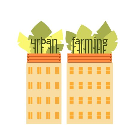 Houses with roof gardens. Lettering 'Urban Farming'. Boxes with plants on roofs. Urban agriculture, gardening. Producing food in city, municipality on rooftops. Vector illustration in flat style.