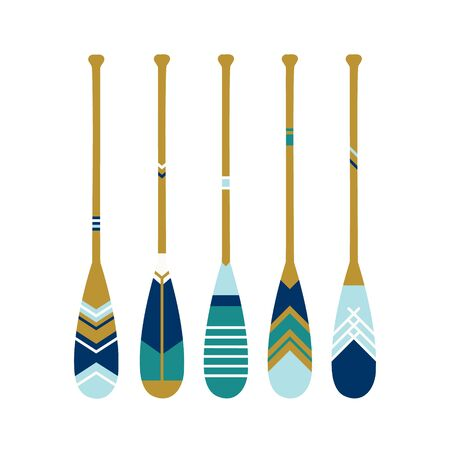 Painted wooden canoe Oar. Modern and contemporary coastal or beach decor. Set of paddles in blue colors. Vector illustration on White background