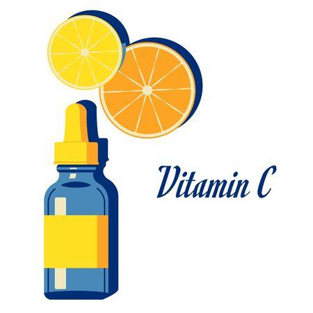 Vitamin C serum for Face Skin Care, treatment for beauty , fresh, whitening, antioxidant. Lemon, orange, citrus slice. Vector Illustration isolated on white