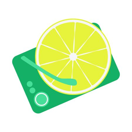 Lemon instead of a record, a disc on the player. Summer concept. Colorful vector illustration in flat style isolated on white background