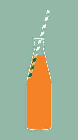 Bottle with an orange drink, soda, beverage with drinking tube, straw on a blue background. Vector illustration in minimal flat Ilustrace