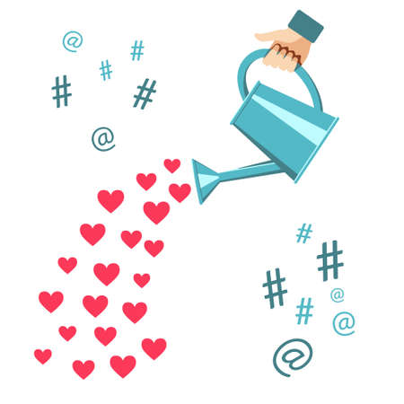 Human hand with a watering can water with hearts, like, hashtag, at . Concept for social media. Vector illustration on white back