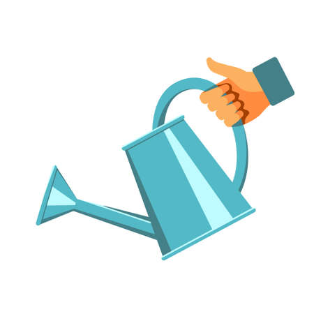 Hand holding blue metallic watering can. Vector illustration isolated on a white