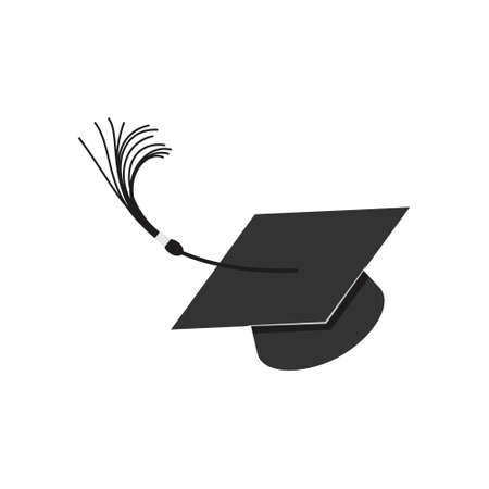 Thrown up Graduation Hat, square academic cap, mortarboard, headgear for students graduating from college or university. Vector illustration isolated on a white background