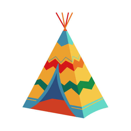 Children Wigwam, Tipi, Teepee, Traditional Wild West Cowboys and Indians Indoor, Outdoor Play Tent for Garden Game. Vector Illustration on a White