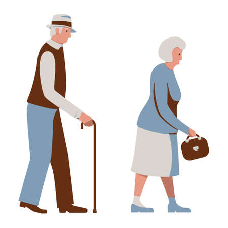 Old People Walking, Elderly Man Walks with a Cane, Aged Woman with a Handbag. Seniors. Gray-haired Grandmother, Grandfather in Weakness. Vector illustration in blue and brown tones isolated on white. Illustration