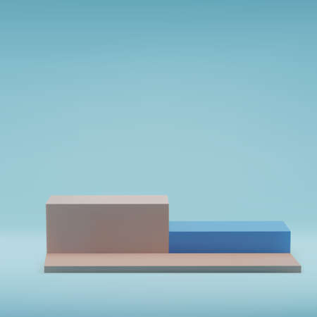 Square beige pastel podiums, on blue background, stage in studio, minimal trendy showcase for marketing product display, exhibition. 3d realistic vector illustration