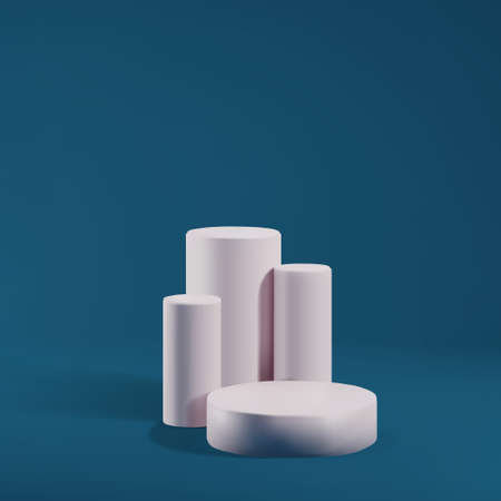 Pillars, cylinders for marketing show, display product. Pink pedestal on blue background, minimalistic studio stage. Realistic 3d vector illustration.