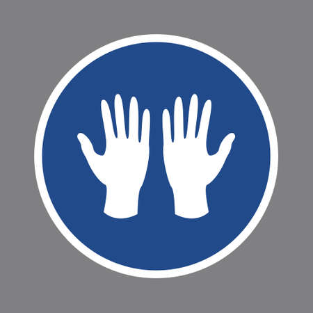 Mandatory circle sign to wear medical gloves to prevent spread of virus, infection, flu. White protection gloves on blue background. Vector illustration.