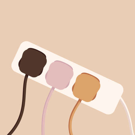 Power strip with connected wires, appliances. Teamwork concept. Vector illustration in flat style in pastel colours. 矢量图像