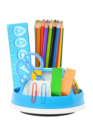 Pencil holder with a rule, scissors, erasers and many-colored pencils isolated on the white background