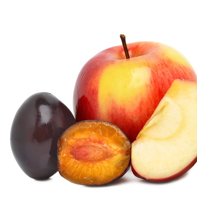 Ripe sweet plum and red apples isolted on the white background photo