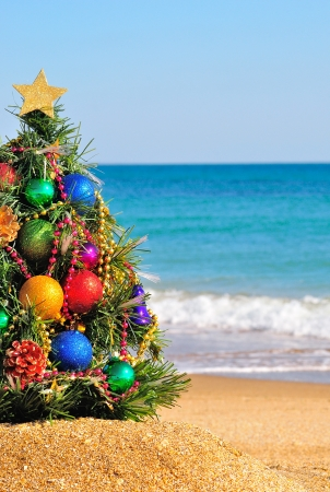 christmas morning: Christmas tree on the sand in the beach Stock Photo