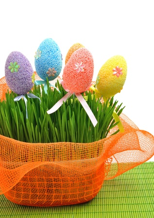 Colorful easter eggs in the flowerbed wih green fresh grass isolated on white photo