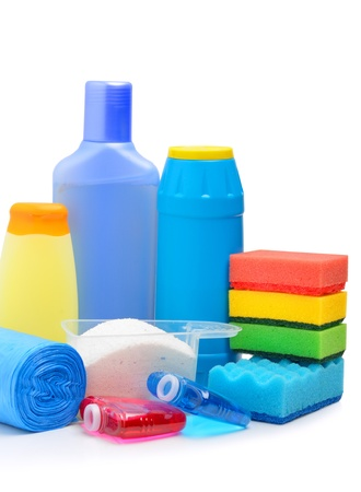 Cleaning supplies, sponges, cleaning powder and  garbage bags isolated on white photo