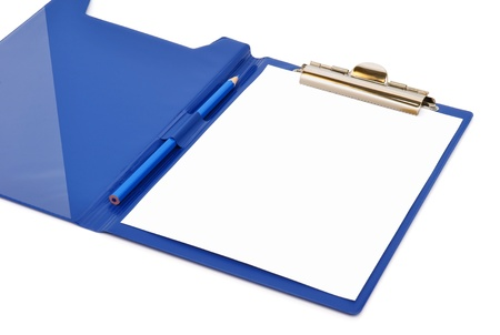 rasa: Blue folder with white sheet and pencil on it isolated on white