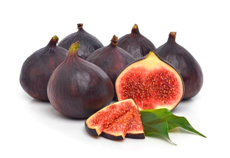 fig tree: Group of fresh ripe figs isolated on the white background Stock Photo