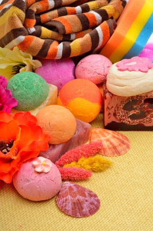 Bath towels, naural soap, bath bombs, sponge photo