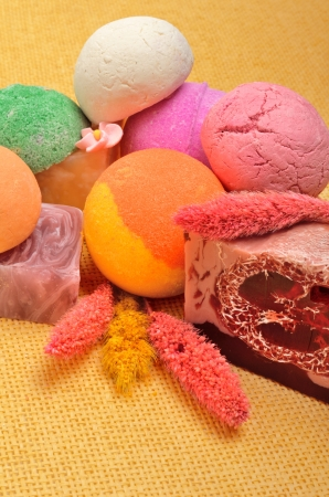 Spa tools, Bath bombs, natural soap,flower, aromatherapy on the yellow background