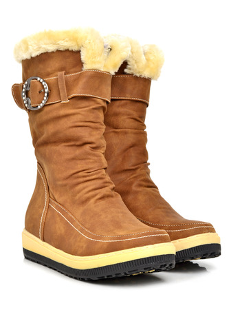 fashion winter boots on the white background photo