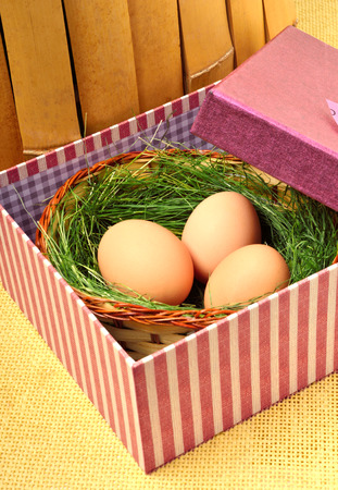 Green nest with eggs in the gift box against the fence photo