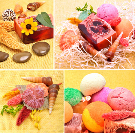 kamille: Handmade natural soap, shells and pebbles, spa, collage, Stock Photo
