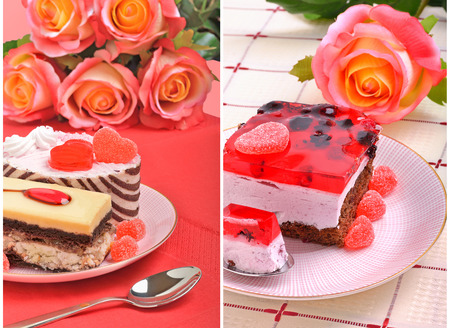 Valentine jelly cake and a rose on the tablecloth.collage photo