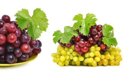 Ripe green and red grape isolated on the white background. Collage photo