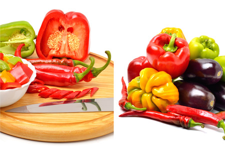 Sweet pepper, chili pepper on the board with a knife isolated on white. Collage photo